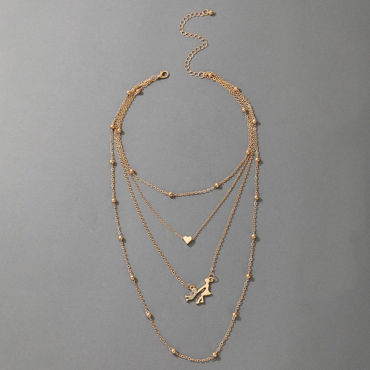 collier de coeur multicouche de mode NHGY302376