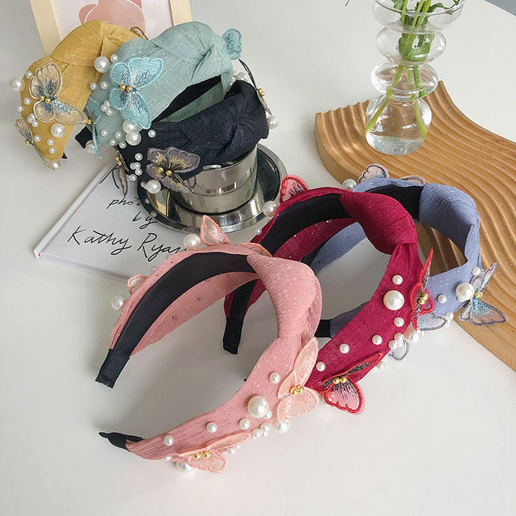 Korean pearl butterfly knotted hair band NHSM336341