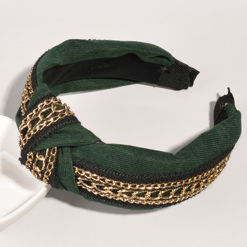 retro pure cotton gold chain knotted headband NHWB332749