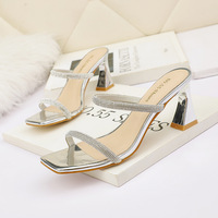5569-6 Europe and the United States show thin and sexy peep-toe heels diamond club web celebrity sandals thick with one word with women's shoes