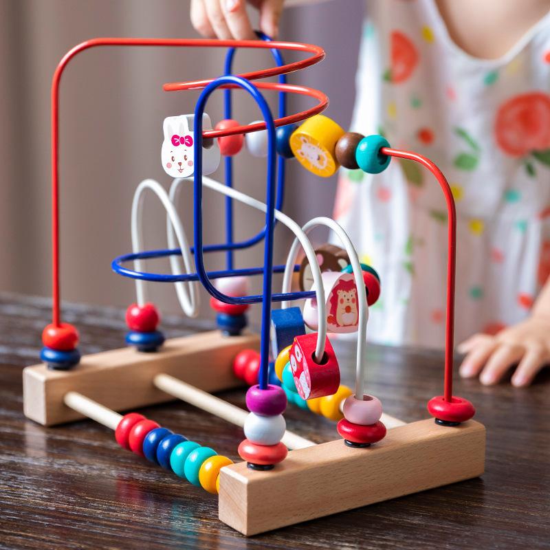 木制卡通动物水果绕珠男孩女孩早教益智积木宝宝手眼协调锻炼玩具