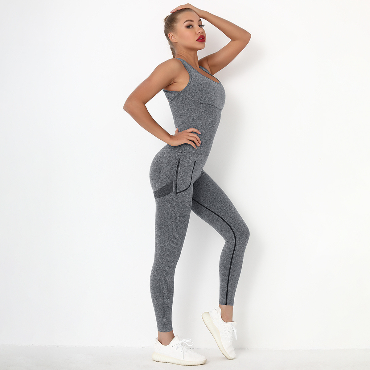 Cross Strapped Backless Sports Jumpsuit NSNS48417
