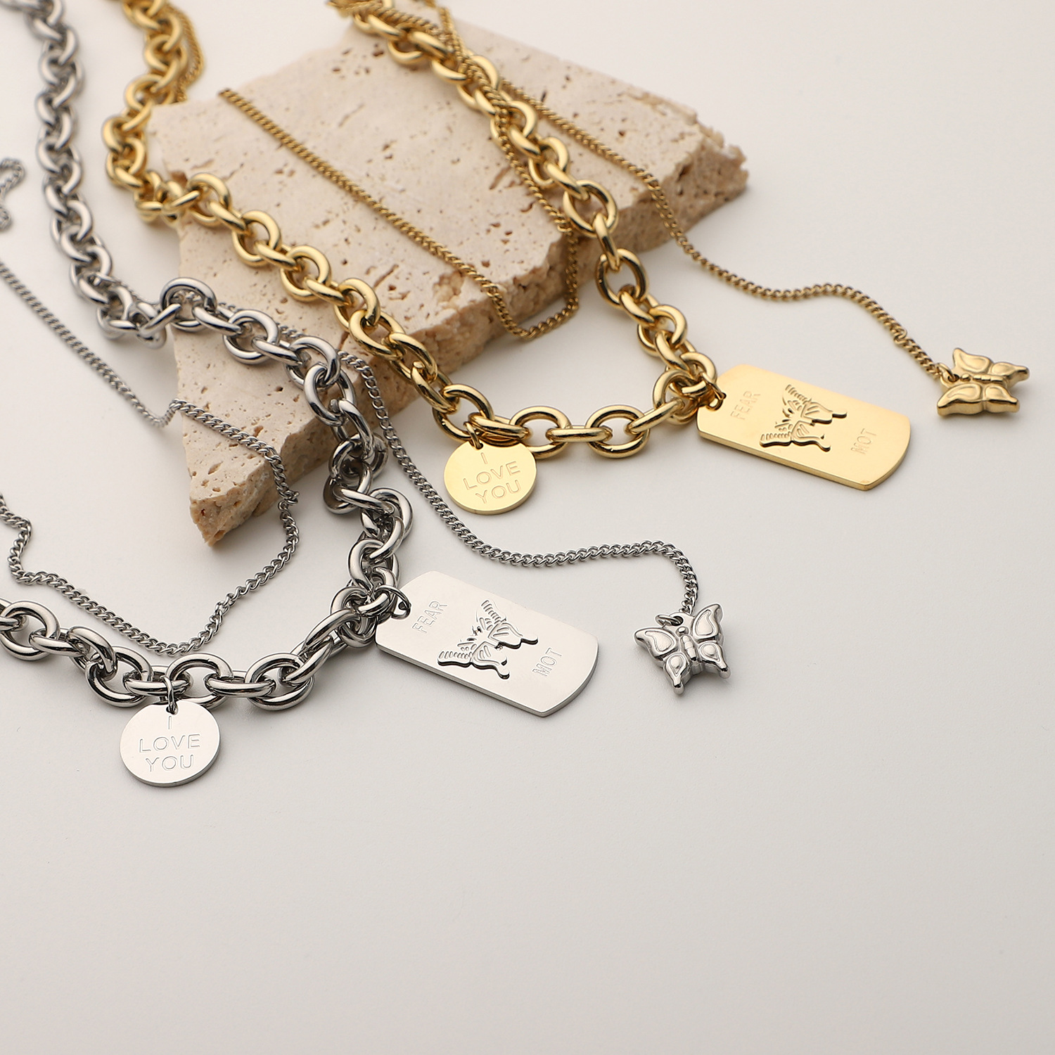 fashion new style gold steel color Good Luck smiley face pendant bracelet NHJIE359030