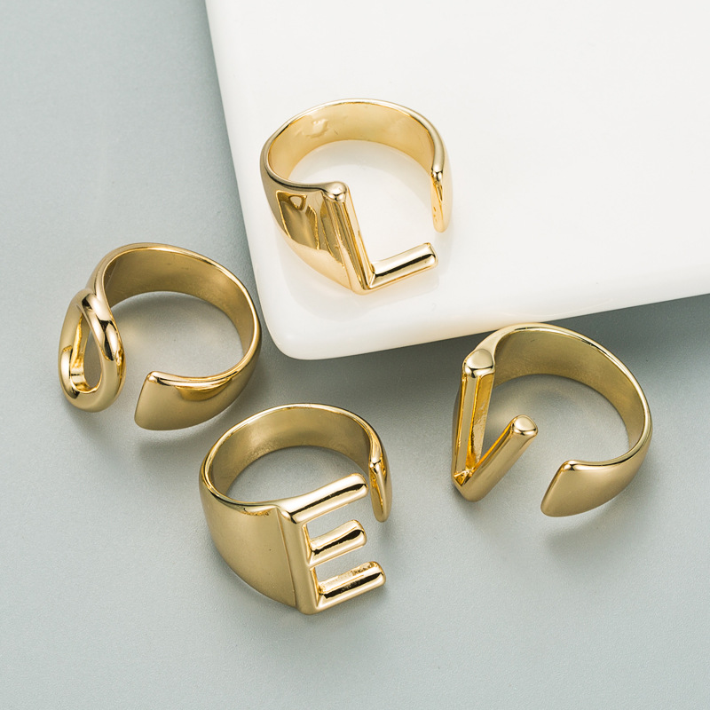 fashion copper plated English alphabet open ring NHLN319651