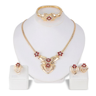 European and American cross-border new personality exaggerated temperament four-piece necklace fashion wedding prom jewelry set in stock