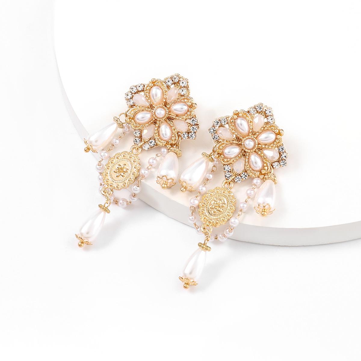 Korean alloy diamond inlaid pearl flower long earrings  NHJE331235