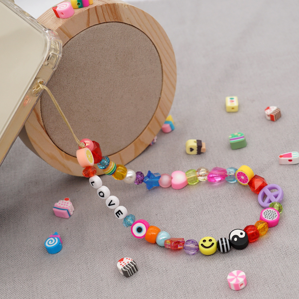 Fashion Color Letter Five-pointed Star Peach Heart Fruit Eyes Mobile Phone Chain