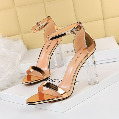 322-9 European and American fashion sexy summer wind nightclubs with ultra-high with peep-toe heels transparent one word