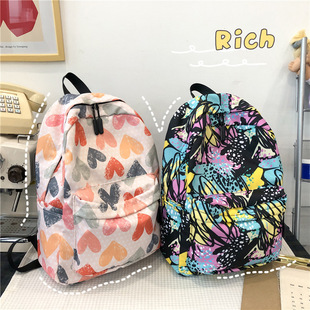 Schoolbag female ins Korean version of the forest junior high school girl backpack high school college students graffiti color matching lightweight backpack