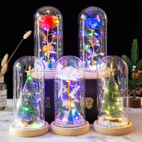Xmas gift Led Eternal foil rose flowers  for wife girlfriends with Glass cover luminous Christmas tree ornaments Foil Rose Christmas Gift LED lights decorations