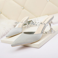 8808-3 han edition style light pointed mouth high-heeled shoes a word with diamond fine female sandals with empty web celebrity after women's shoes