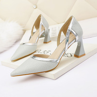 3668-2 han edition fashion pointed lighter heels thick with sexy professional sandals club banquet joker for women's shoes