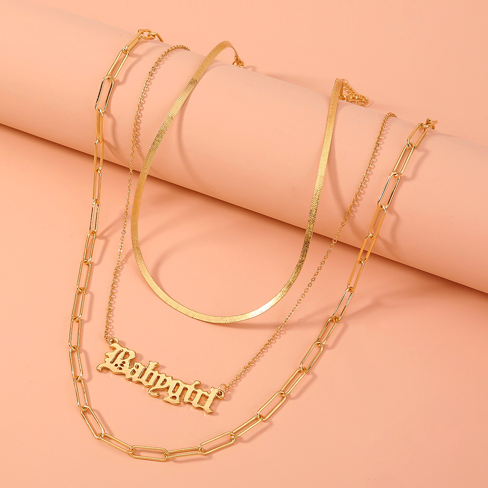 multi-layer metal letter necklace  NHAN316677