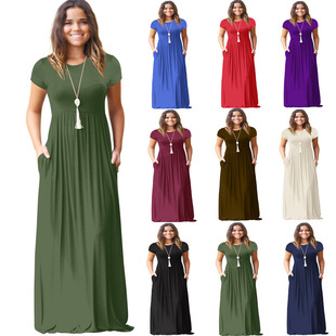 Cross-border source European and American women's long skirts Amazon spring and summer short-sleeved casual pocket dresses