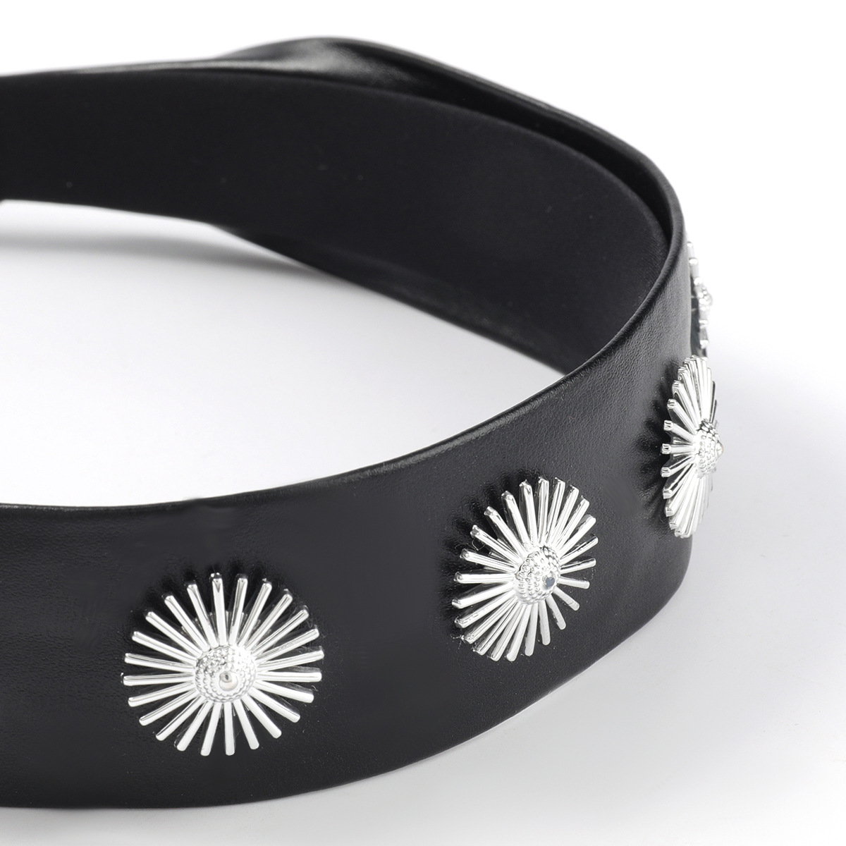 Korean alloy round nails sunflower artificial leather headband NHJE311255