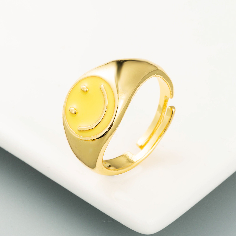 retro smiley copper plated gold dripping open ring  NHLN355164