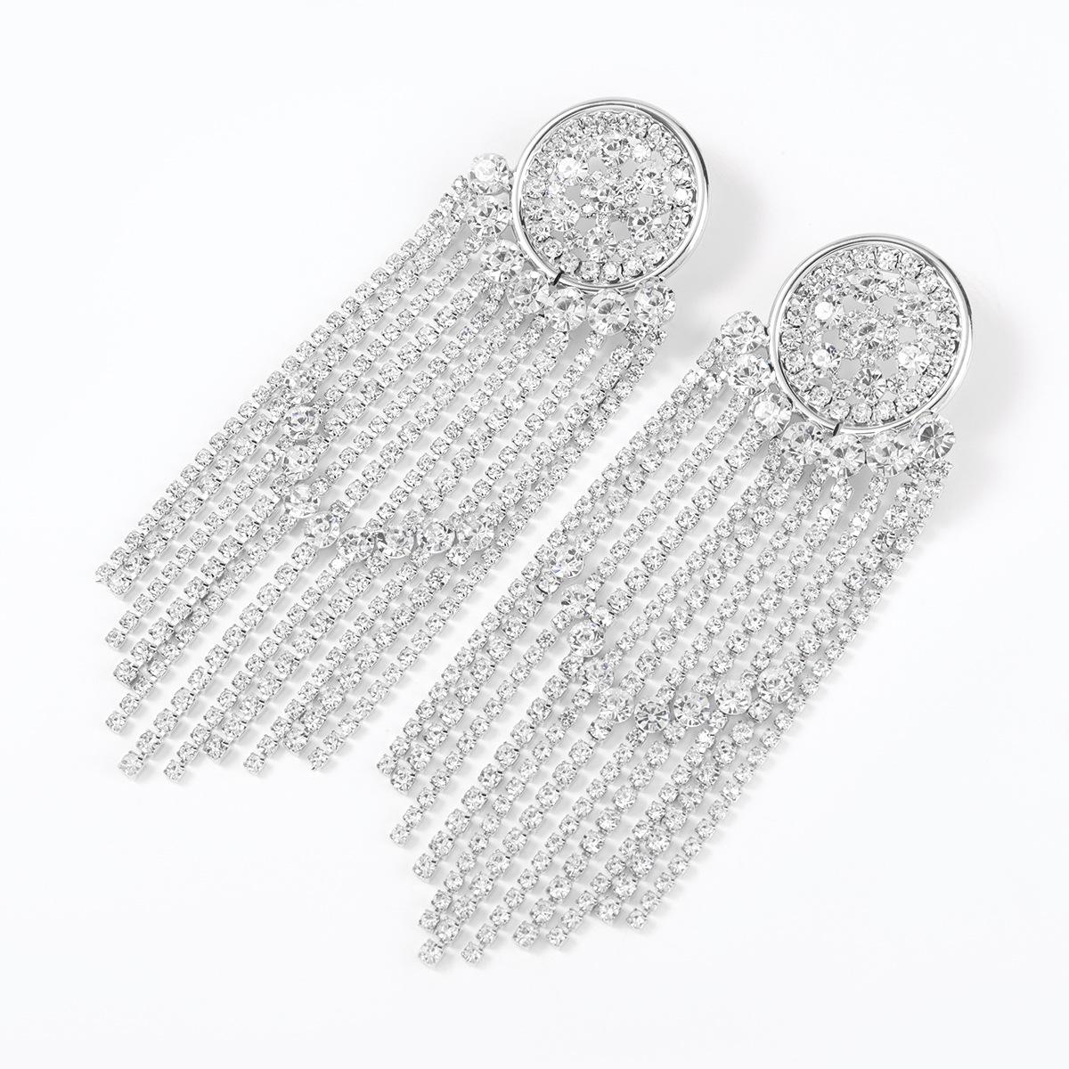round alloy rhinestone tassel earrings  NHJE315588
