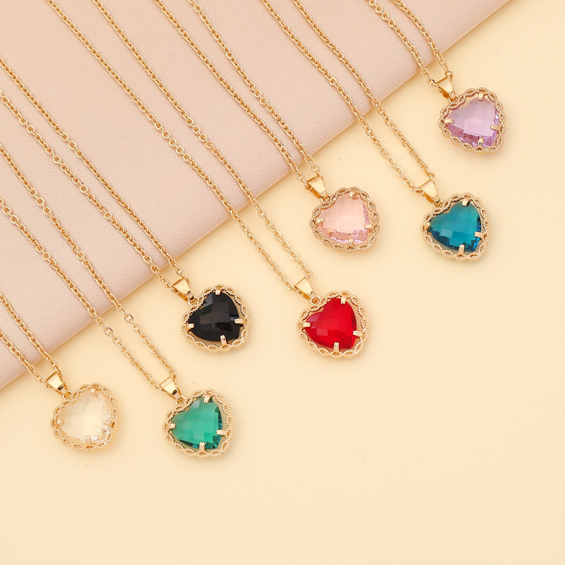 Fashion multicolor heartshape copper necklace wholesale NHBW335878