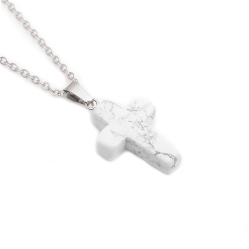Simple cross stainless steel necklace wholesale NHYL331857