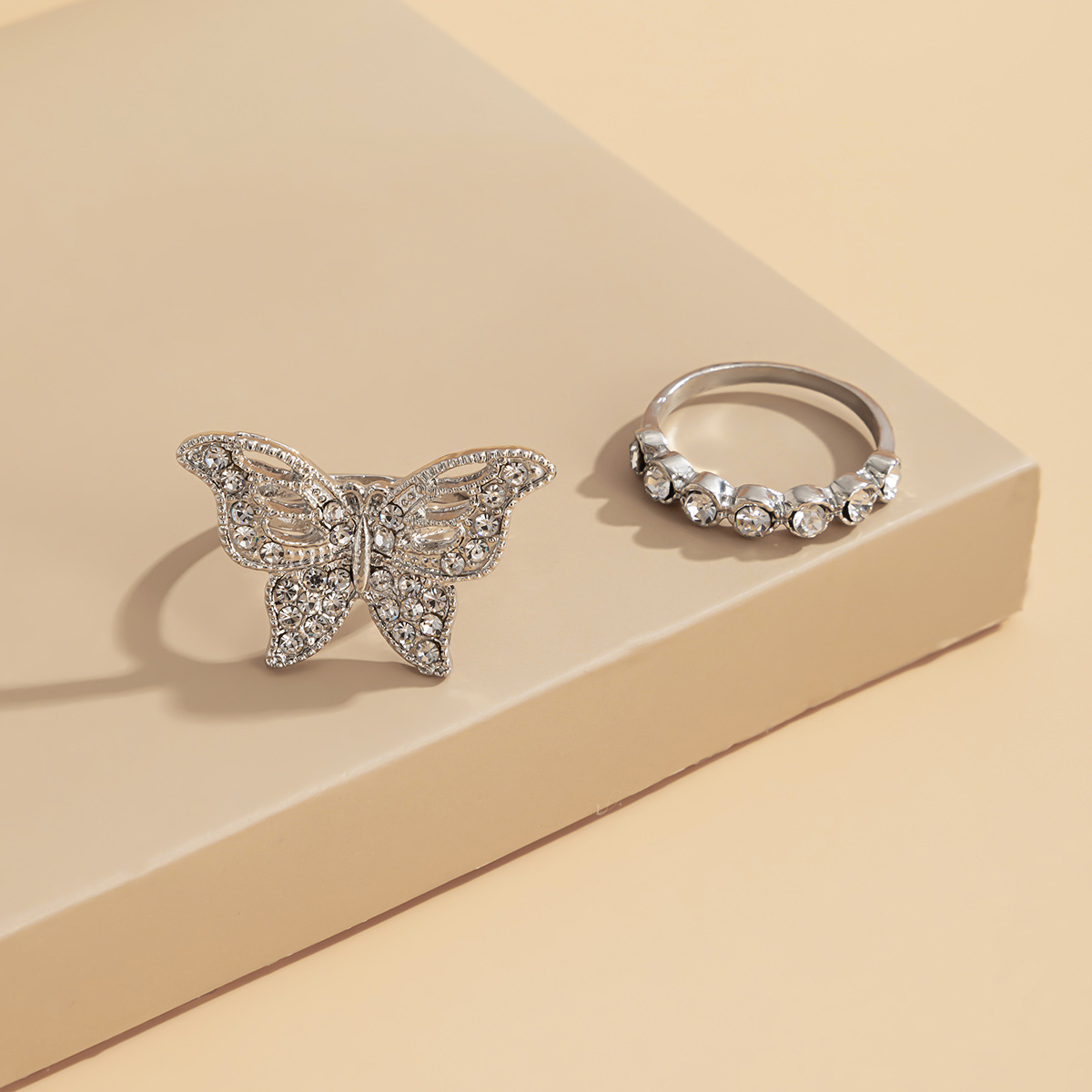 retro personality hollow butterfly geometric ring set NHXR300989