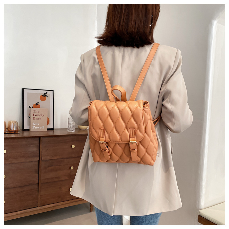 fashion embroidered thread solid color small backpack  NHLH367052