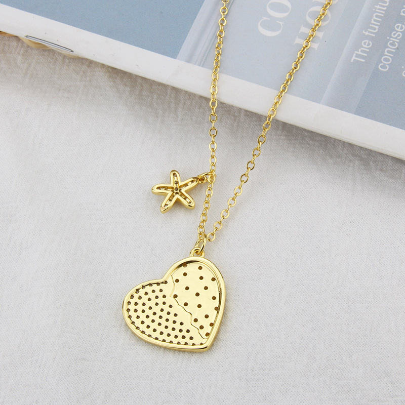 simple copper plated heartshaped necklace wholesale Nihaojewelry NHBP421844
