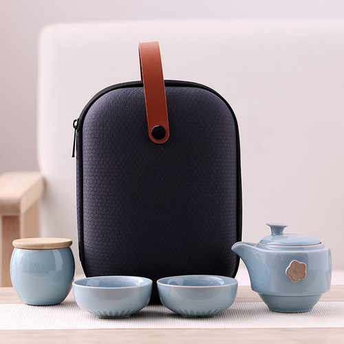 Ceramic portable kung fu tea travel teacups set outdoor camping with teapots and teacups living room small set
