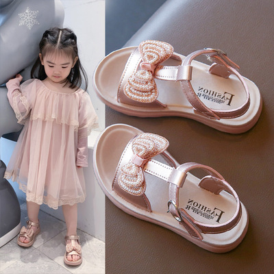 Girl's princess shoes diamond bow little girl's single shoes baby's soft sole anti slip shoes