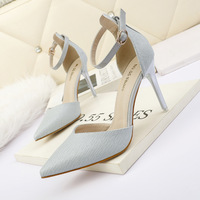 200-28 han edition style light pointed mouth high-heeled shoes a word with fine sexy sandals with thin professional OL for women's shoes
