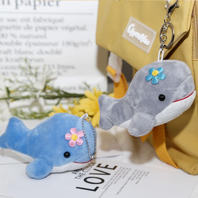 仿真海洋动物公仔小海豚鲸鱼挂件毛绒玩具钥匙扣书包挂饰定制logo
