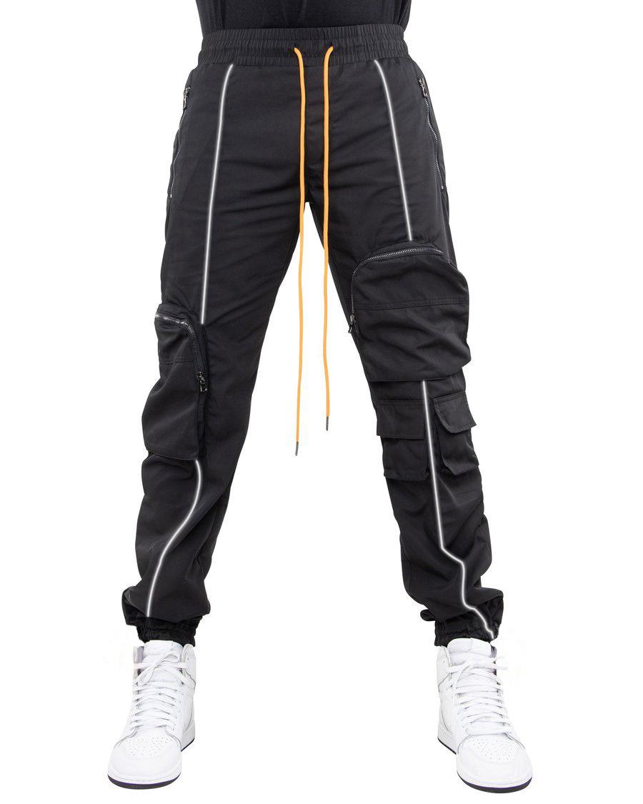 外贸热款潮牌反光长裤男式休闲裤2021欧美大码宽松高街多袋工装裤