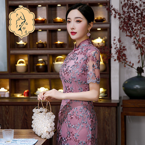 Lace Chinese dress for women oriental qipao dress Mesh embroidery and beading ladies cheongsam elegant purple mid-length banquet dress