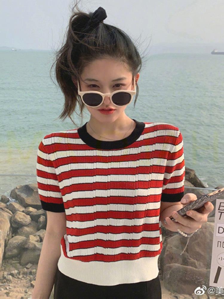 撞色条纹针织t恤女2021春夏季新款韩版显瘦短袖上衣