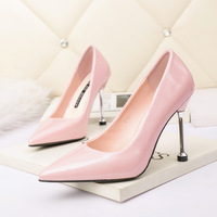 2123-1 in Europe and the sexy pointed shallow mouth high-heeled shoes nightclub show thin fine with professional OL women's patent leather shoes for women's shoes