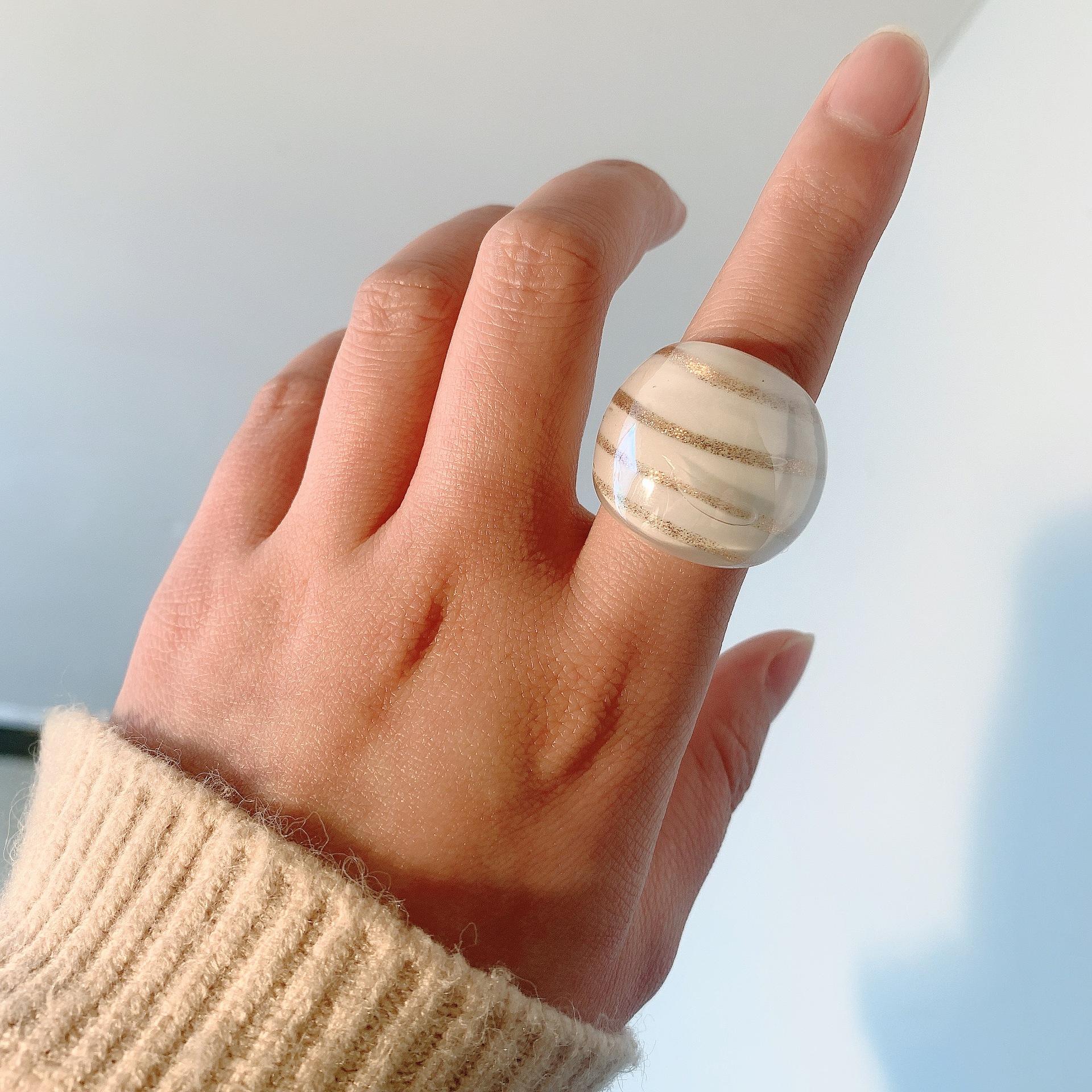 anillo de esmalte de color de textura dorada de moda NHJQ336279