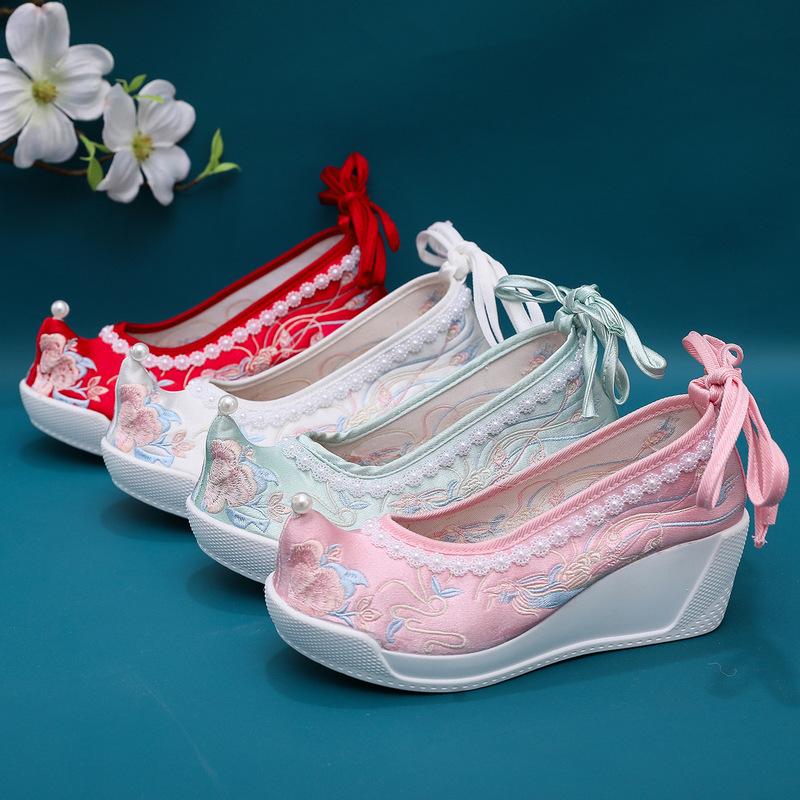 Phoenix hanfu shoes for women Beijing shoes Hanfu matching ethnic women fairy princess cosplay shoes retro embroidered shoes high heels