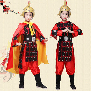 Children chinese ancient swordsman warrior performance clothes opera Yue Fei Hua Mulan general armor costume ancient soldier Yang Jiang performance costume