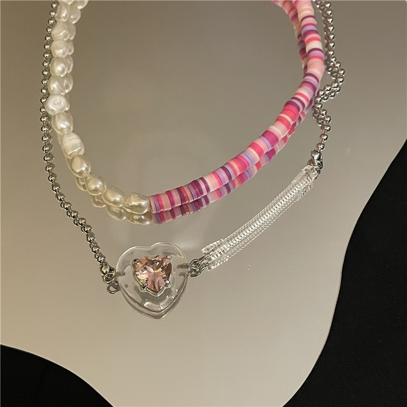 Nihaojewelry wholesale jewelry bohemian colored pottery freshwater pearl splicing heart necklace NHYQ383467