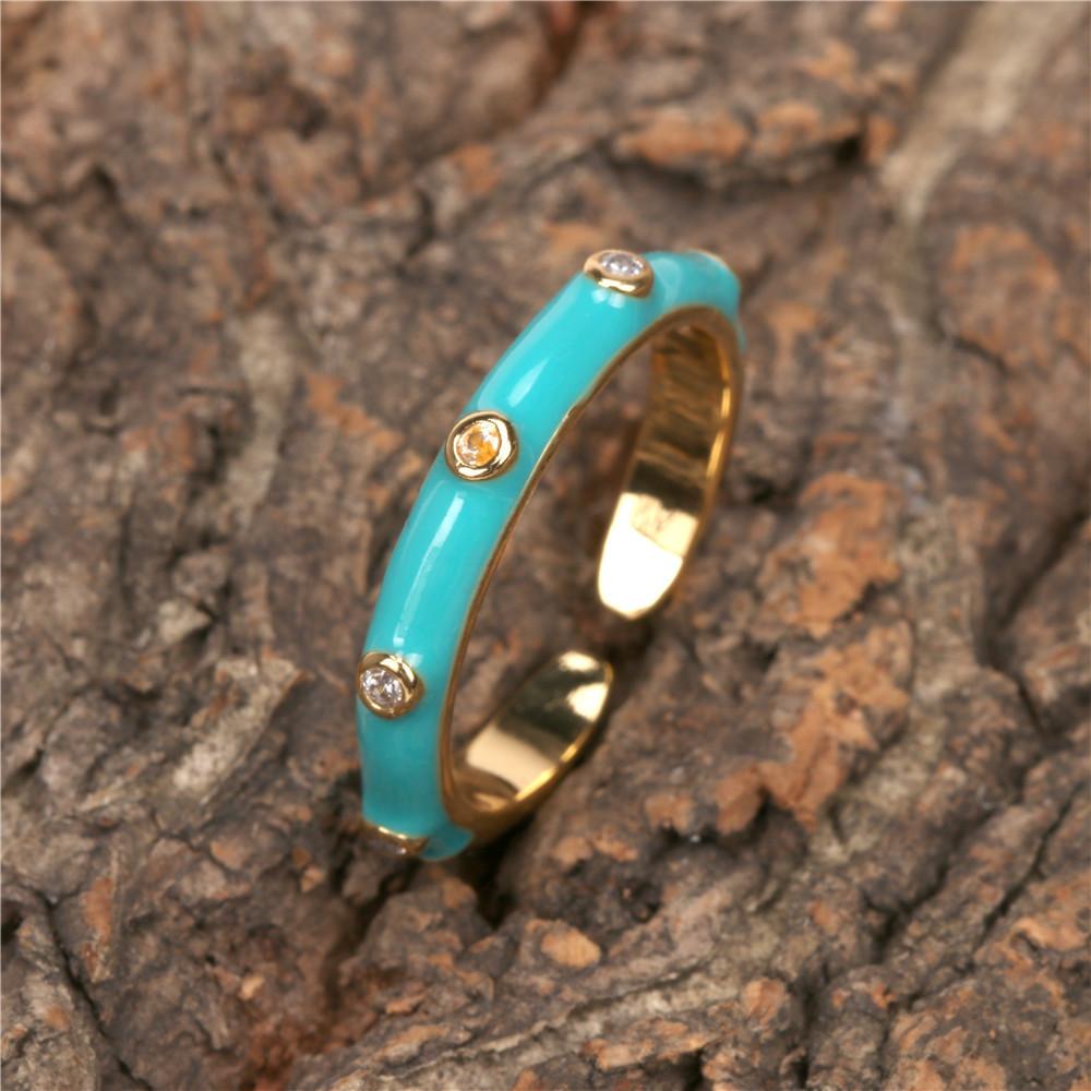 fashion enamel geometric copper inlaid zircon open ring wholesale  NHPY368134