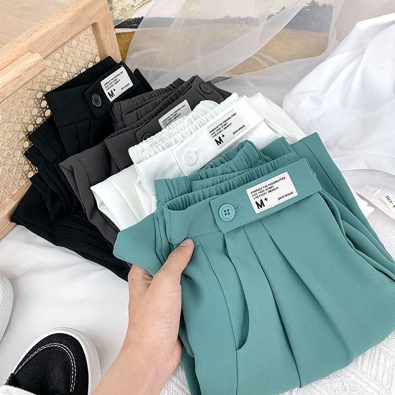 西裤女2021春夏新款高腰宽松直筒冰丝薄款显瘦休闲裤束脚哈伦裤女