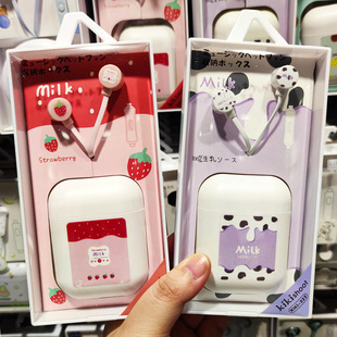 Factory wholesale in-ear voice call headset wired fruit storage boxed cartoon headset ki-322