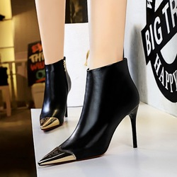 173-2 European and American fashion sexy nightclub show thin thin thin heel high heel side zipper metal pointed short boots and bare boots