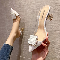 6111-5 in Europe and the sexy pointed side buckle shoes after a word diamond sandals, transparent empty web celebrity for women's shoes