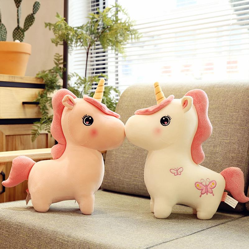 创意款梦幻独角兽毛绒玩具抖音同款粉红少女心小马公仔剪刀机娃娃