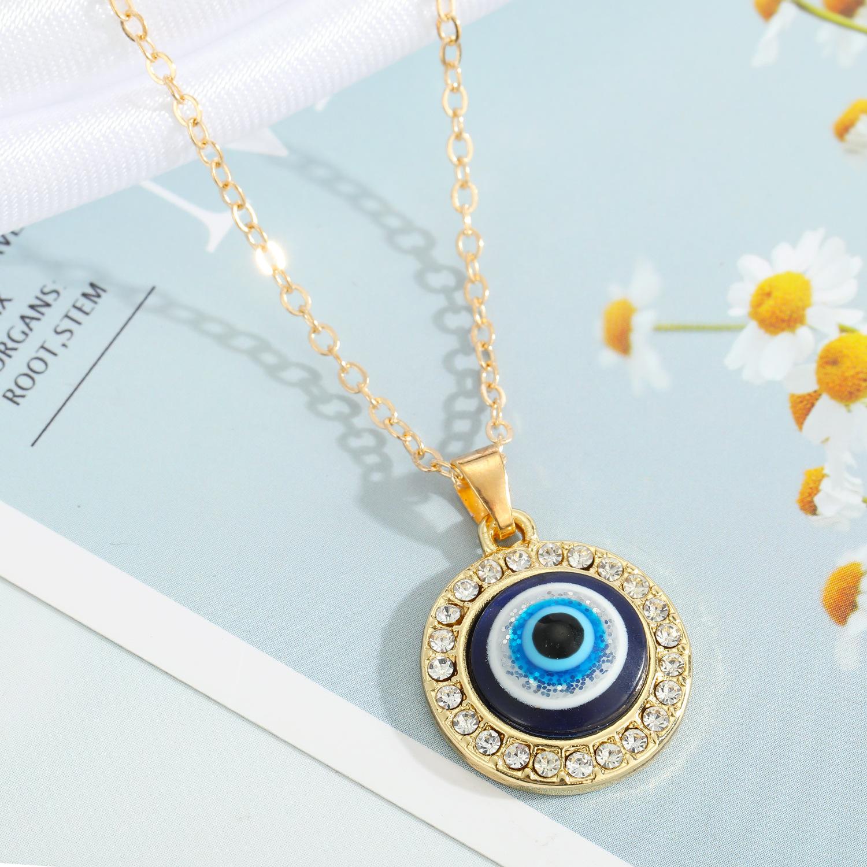 Turkey blue eye pendant alloy diamond necklace wholesale Nihaojewelry  NHGO410518