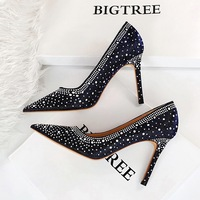 1938-1 with ultra-high with European and American wind sexy party show thin thin shallow mouth pointed nightclub single shoe heels for women's shoes
