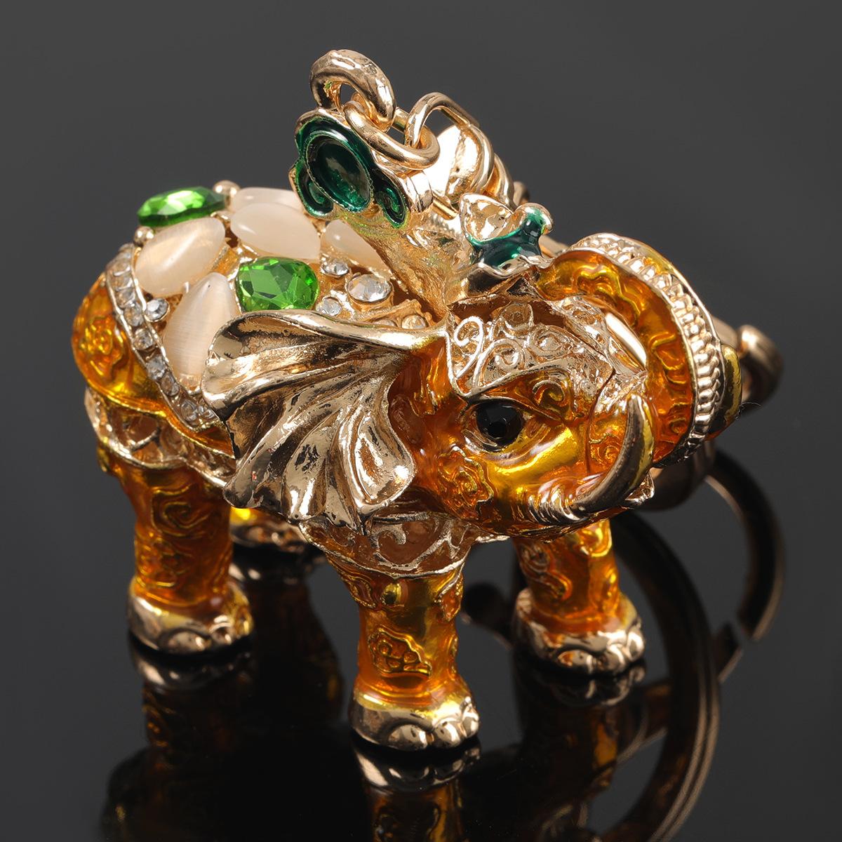 Fashion White Alloy Oil Dripping Diamond Elephant Keychain Pendant