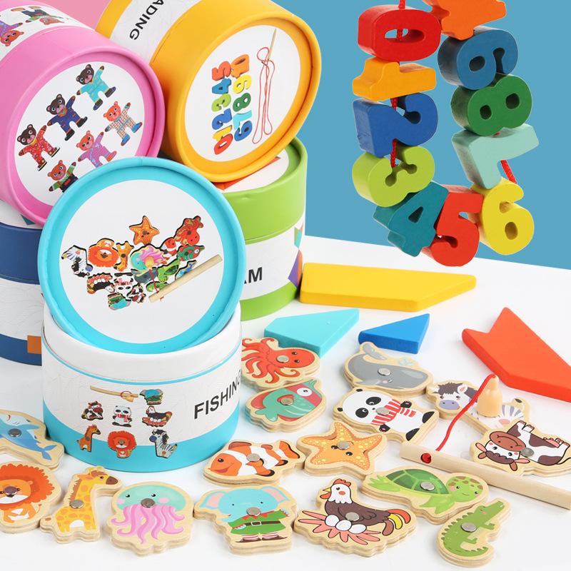 随身桶装积木玩具儿童益智早教七巧板智力开发游戏旅行纸筒装串珠