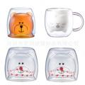 厂家直销家用双层水杯小熊杯早餐牛奶杯小猫玻璃杯可爱动物男女