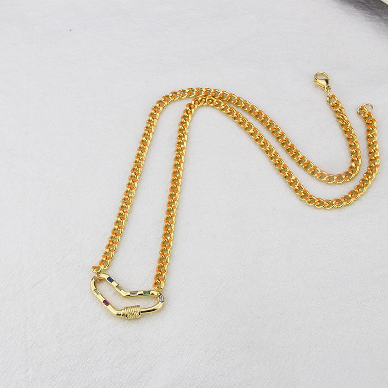retro heart cross stainless steel goldplated zircon necklace wholesale Nihaojewelry NHBP421878